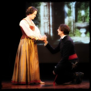 "Angie Light as Beatrice and Michael Hovance as Benedick in Shakespeare's ""Much Ado About Nothing"""